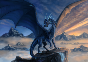 Blue dragon Commission by x-Celebril-x