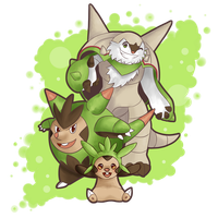 COMMISSION: Chespin, Quilladin and Chesnaught
