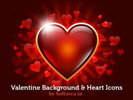 Valentine Background And Heart Icons by softarea