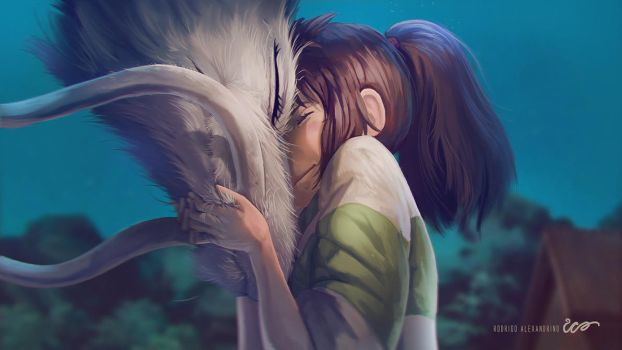 Chihiro and Haku Paint Over by RodrigoICO
