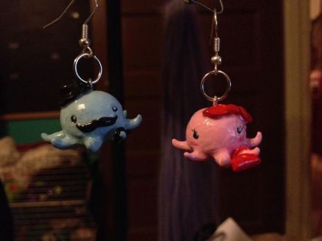Sir and Lady Octopus earrings by Branther