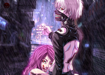 tokyo ghoul _ kaneki and rize by Mansour-s