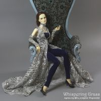 Silver dress and deep blue unitard costume by scargeear