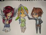 Erza, Link, and Squall by Heart-Wolfii