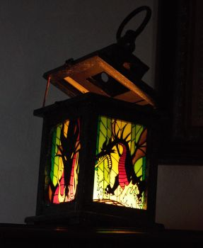 sleeping beauty villain stained glass lantern by raijinmofo