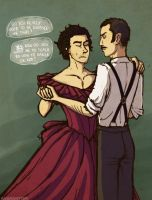 late night dance lessons with Holmes and Watson by annicron