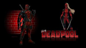 Lady Deadpool Wallpaper - Brick Wall by Curtdawg53