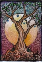 ACEO ATC the tree of wisdom by DawnyDawn