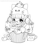 Razielle Cupcake Lineart :AT: by YamPuff