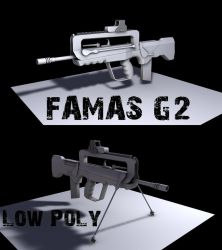 FAMAS G2 Low Poly WIP by Artificialproduction