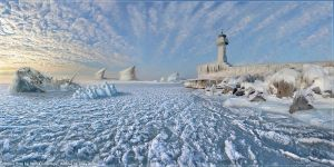 Mat Painting of Iced Light House by OLDDOGG
