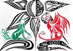 tribal - fox and dragon by Sizhiven