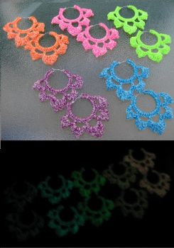 Glow in the Dark Crocheted Hoop Earrings by crazynina