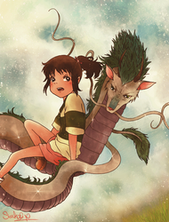 .Spirited Away. Sen and Haku by dwightyoakamfan