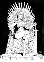 Red Sonja on the Iron Throne by AssisEzequiel