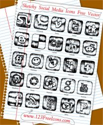 Sketchy Social Media Icons Free Vector by 123FreeIcons