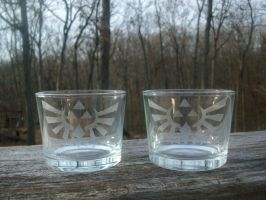 Zelda Royal-Hylian Crest Glass Candle Holders by ZombieBunnySlaya