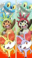 Fennekin, Chespin and Froakie + SHINY Bookmarks