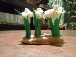 Polymer clay sculpted miniature Irises 2 by wholedwarf