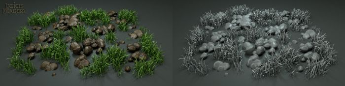 Laticis Imagery FREE Object - Rocks and Grass by Laticis