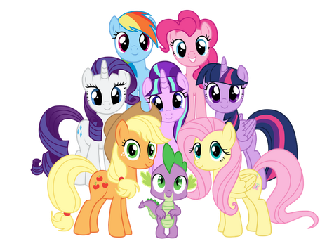 Mane 7 and Spike by MixiePie