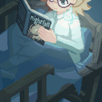 [LWA GIF] Reading at night is so relaxing. by StarlettAnimation