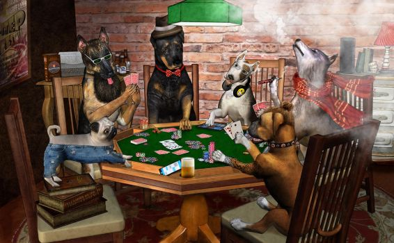 Hipster Dogs Playing Poker by alsobroken