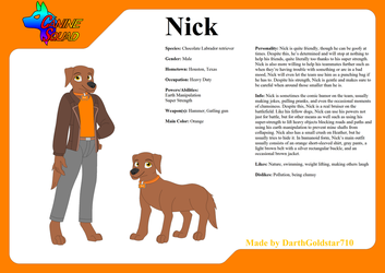 Canine Squad Ref. Sheet: Nick by DarthGoldstar710