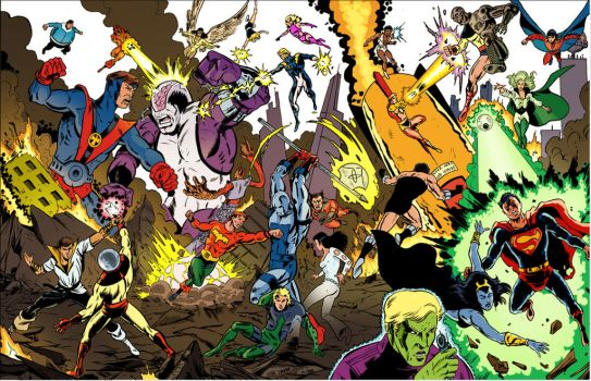 Legion of Superheroes vs. the Fatal Five by sirandal