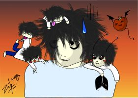 Death Note: L and the Chibis by ziksan