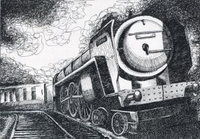 Locomotive - Pen and Ink by R-Russo