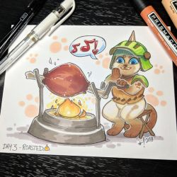 Inktober day 3 - Roasted by StarSheepSweaters