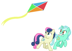 Lyra and bon-bon flying a kite by sofunnyguy