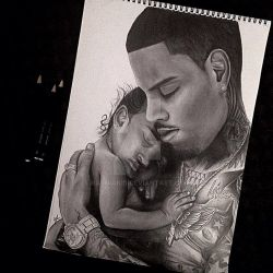 Chris Brown Royalty Pencil Portrait by Narniakid