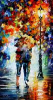 Bonded By The Rain by Leonid Afremov by Leonidafremov
