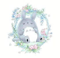 Sleepy Totoro by Cinnamoron