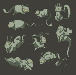 Cat-Dragon Creatures by TheAmoebic