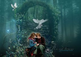 Ron and Hermione in Magical Forest by VaLeNtInE-DeViAnT