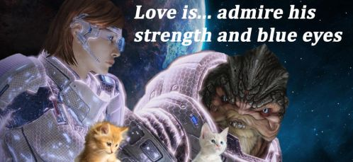 Love is... Shepard and Grunt by Mirianes
