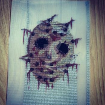 Jason Voorhees Cross Stitch / Needlepoint WIP by Karma-Pudding