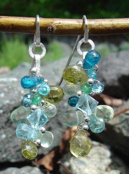 Gemstone Cluster Earrings by MarieCristine