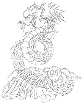 Shiryu Dragon tattoo lineart by Azraeuz