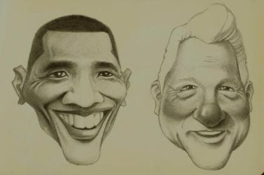 Obama and Clinton by maddunkartist