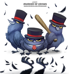 Daily Paint 2092. Murder of Crows by Cryptid-Creations