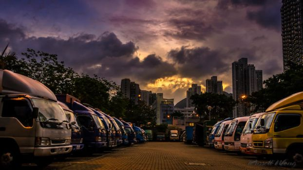 Parking Lot at Sunset by Russellbk