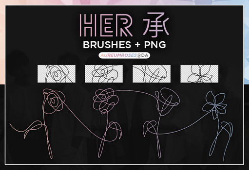 HER: FLOWER BRUSHES + PNGS by aureumroses