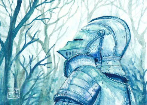 Knight in Blue Woods by Leharc--BlueHeart