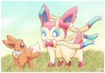 Sylveon and eevee by pichu90