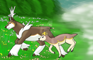 Re-Draw Sawsbuck and Deerling by DrWolfsea