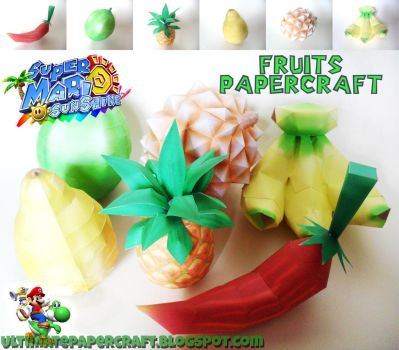 Super Mario Sunshine Fruits Papercraft by squeezycheesecake